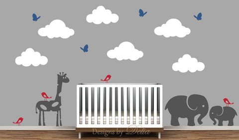 Nursery Decal, Jungle Animals Wall Decal with Giraffe, Elephants, Butterflies, Birds, and Fluffy Clouds