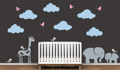 Wall Decal for Nursery Includes Giraffe, Elephant, Baby Elephant, Birds, Butterflies, and Clouds
