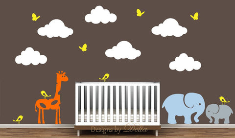 Wall Decal for Nursery with Beautiful Clouds and Cute Jungle Animal Friends