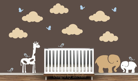 Nursery Wall Decal with Jungle Animals, Birds, Butterflies, and Clouds