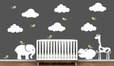 Wall decal for Nursery with Jungle Animals