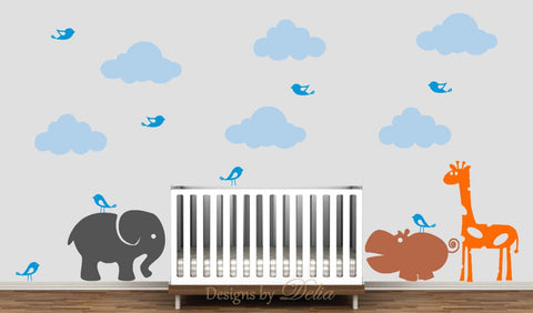 Children's Wall Mural with Elephant, Hippo, Giraffe, Clouds, and Birds Decals