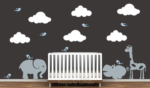 Nursery Decal Includes Elephant, Giraffe, Hippo, Clouds, and Birds