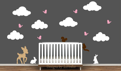 Nursery Wall Decal with Deer, Bunnies, Squirrels, Butterflies, and Clouds
