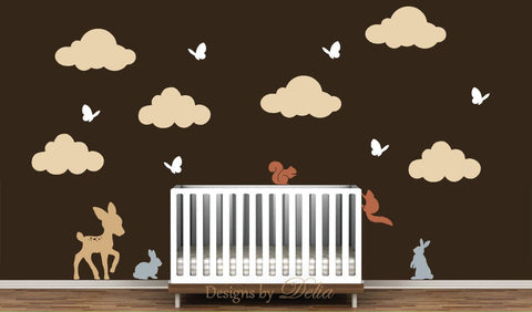 Nursery Mural Featuring Deer, Squirrels, Bunnies, Butterflies, and Clouds