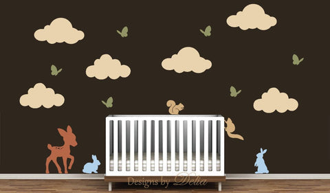 Forest Animals Wall Decal with Clouds and Butterflies