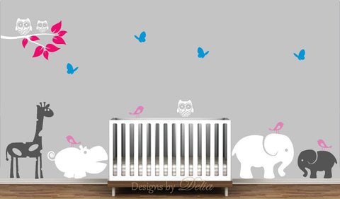 Nursery Wall Decal with Jungle Animals and Tree Branch