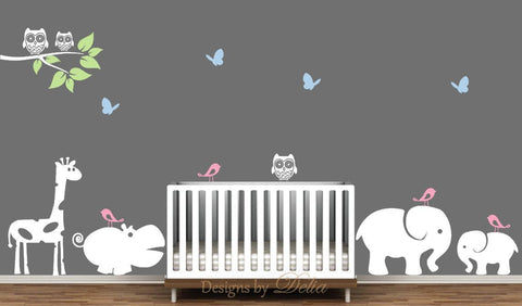 Nursery Decal with Elephants, Giraffe, Hippo, Owls, Birds, and Butterflies