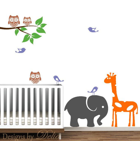 Children's Room Decal with Jungle Animals and Tree Branch