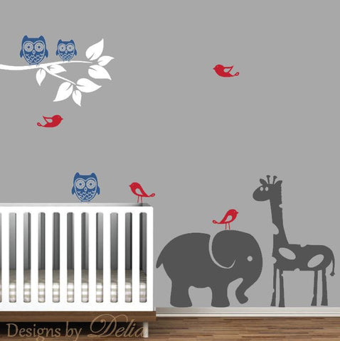 Boy or Girl Nursery Wall Decal with Elephant, Giraffe, Owls, and Birds