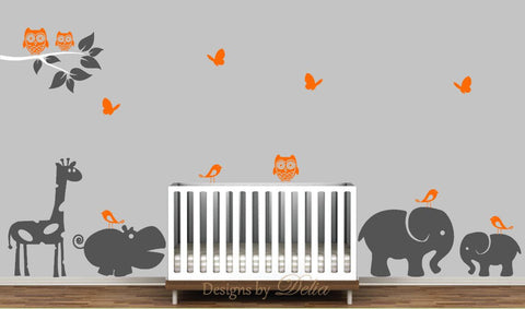 Decal for Childrens Rooms Includes, Elephant, Baby Elephant, Giraffe, Hippo and More