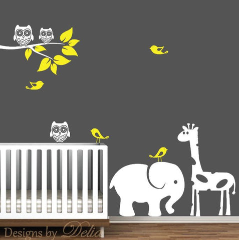 Nursery Decor with Colorful Animals, Birds, Owls, and Tree Branch