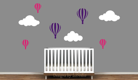 Girl or Boy Nursery Decal Set Includes Hot Air Balloons and Clouds (Choose Colors)