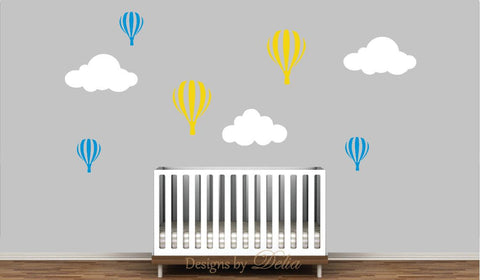 Nursery Wall Decal with Clouds and Hot Air Balloons