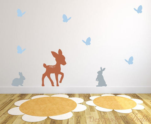 Children's Wall Decal, Forest Animals Include Deer, Butterflies, and Bunnies