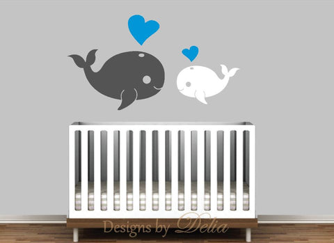 Nursery Wall Decal with Mommy or Daddy Whale and Baby Whale