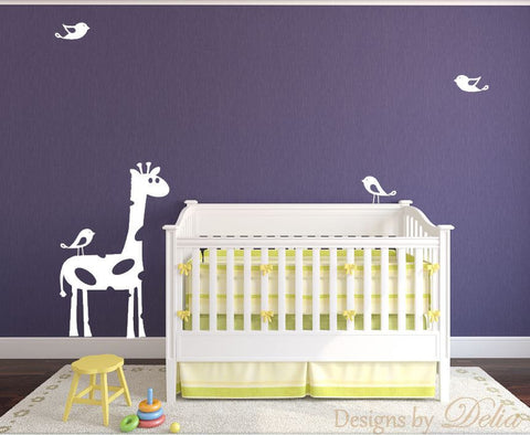 Nursery Decal with Giraffe and Cute Birds