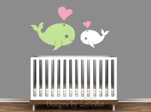 Nursery Decal with Cute Whales and Hearts