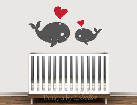 Baby Room Decals With Whales And Hearts Decals By Delia - Baby room decals
