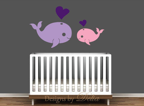 Whale and Hearts Wall Decals