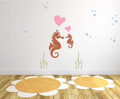 Kids Play Room Decal with Seahorses, Bubbles, and Hearts