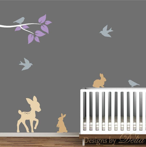Wall Decal for Nursery with Animals and Tree Branch