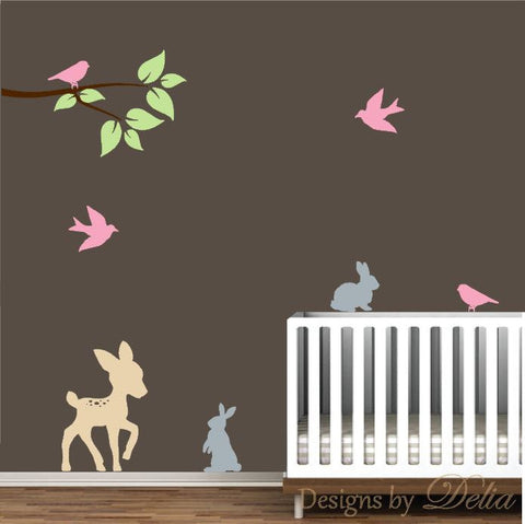 Deer Decal for Nursery with Cute Bunnies, Colorful Birds, and Tree Branch