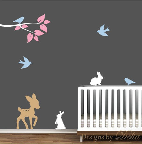 Deer Nursery Decal with Birds and Bunnies