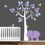 Girl or Boy Nursery Wall Decal Available in Custom Colors with Elephant, Tree, and Butterflies