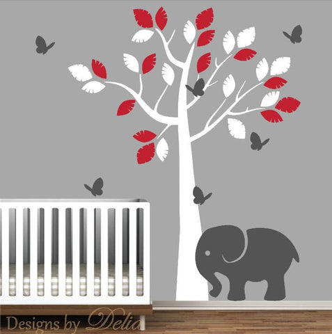 Nursery Tree Decal with Elephant, Butterflies and Colorful Leaves