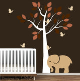 Wall Decal for Nursery with Tree, Elephant, Butterflies and Colorful Leaves