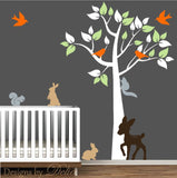 Wall Decal for Boy or Girl Nursery includes Tree, Deer, Bunnies, Squirrels, and Birds