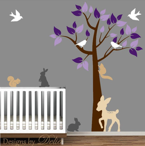 Nursery Removable Wall Decal with Colorful Tree and Forest Animals