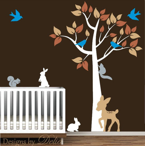 Forest Animals Wall Mural with Tree, Bunnies, Birds, Squirrels, and Fawn