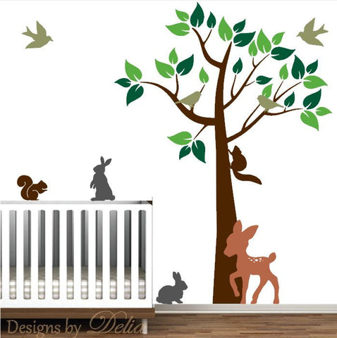 Baby Room Forest Decal Set Includes Deer, Squirrels, Bunnies, Birds, and Tree