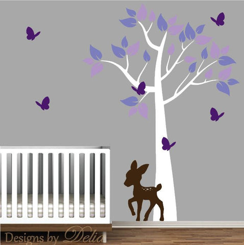 Forest Tree Vinyl Decal with Deer, Butterflies, and Colorful Leaves