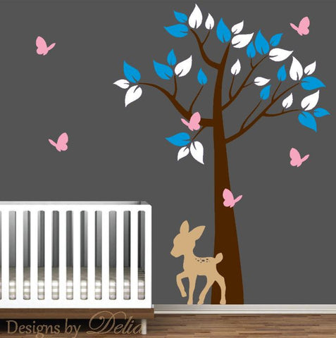 Tree Decal for Baby Room with Deer and Butterflies