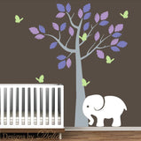 Nursery Wall Decal with Tree, Elephant, and Butterflies