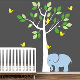 Baby's Room Wall Decal with Cute Elephant and Tree