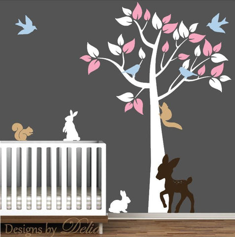 Nursery Wall Decal with Tree, Deer, Bunnies, Squirrels, and Birds