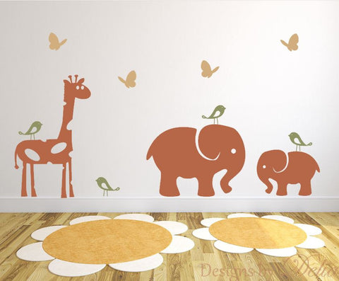 Jungle animal decals for nursery with elephants and giraffe