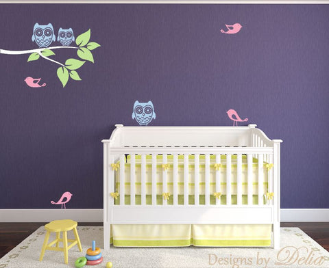 Nursery Owls, Birds, and Tree Branch Wall Sticker