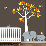 Nursery Tree Decal with Elephants and Birds