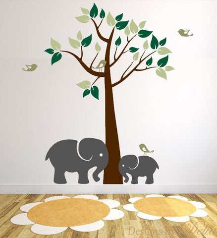 Children's Room Wall Decals with Tree and Elephants