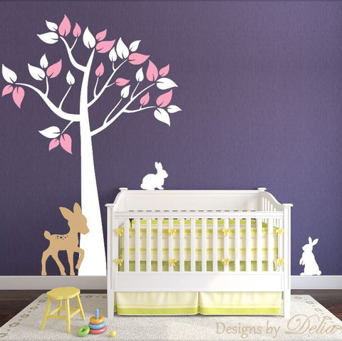 Nursery Wall Tree Decal with Deer and Bunnies