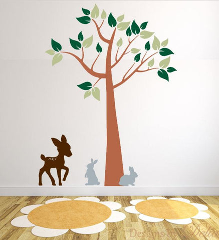 Wall Decal with Forest Animals and Tree for Childrens Room or Nursery