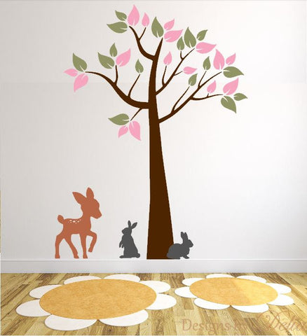 Children's Wall Decal with Beautiful Tree and Cute Forest Animals