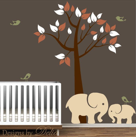 Nursery Wall Decal with Tree, Elephants, and Birds