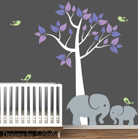 Baby Room Tree Wall Decal with Mommy or Daddy Elephant and Baby Elephant