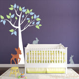 Wall Decal for Nursery with Colorful Tree, Deer, and Bunnies